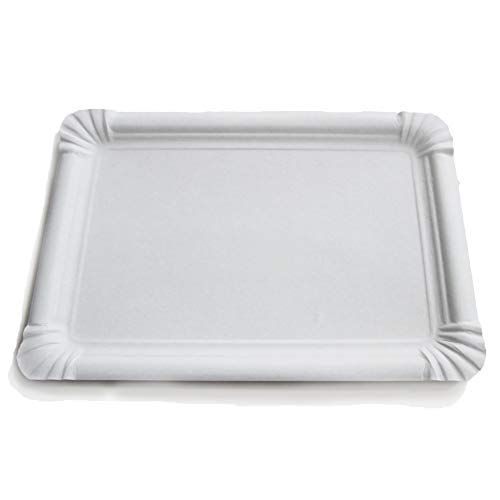 Extiff - Confezione da 25 vassoi di cartone bianco, vassoi di presentazione per pasticceria o buffet freddo (28 x 42 cm)