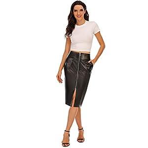 Mini Bodycon High Waist Faux Leather Split Midi Skirt 9