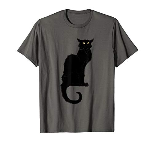 Jahrgang Jugendstil schwarze Katze T-Shirt