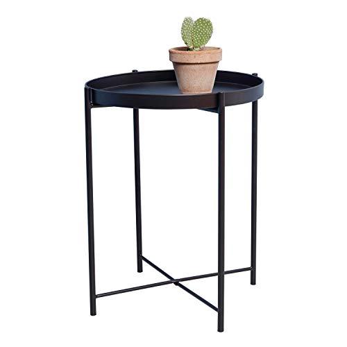 DAY - USEFUL EVERYDAY Beistelltisch, Wohnzimmertisch, Blumenständer, Tisch aus pulverbeschichtetem Metall Skandinavisches Design schwarz Ø38 H50cm vielseitig einsetzbar
