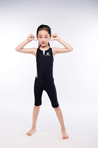 YIXING Girl's Summer Push Up One Piece Swimsuit Professional Water Sport Swimwear Kids Patchwork Racing Competitive Bathing Beach Suit (Color : Gray, Size : 3XL(47 55kg))