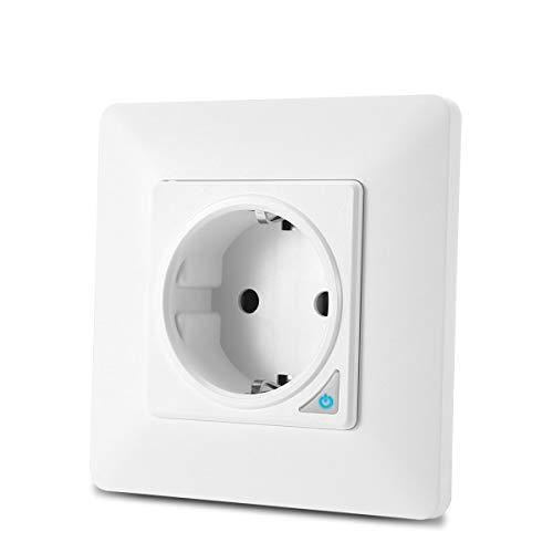 TEEKAR Enchufe Pared Inteligente WiFi Alexa (No Requiere Smart Plug), Smart Life Schuko Enchufe Temporizador con Control Remoto, Compatible con Alexa Echo, Google Home y IFTTT, Marco magnético