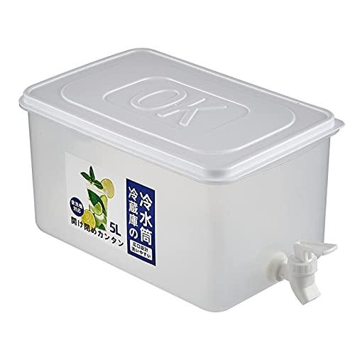 Dispensador de Agua Potable para Nevera, 5 l, recipientes de plástico ecológicos para Bebidas, sin BPA, Botella fría de Color Blanco Transparente con Tapa para Grifo, dispensador de Limonada I