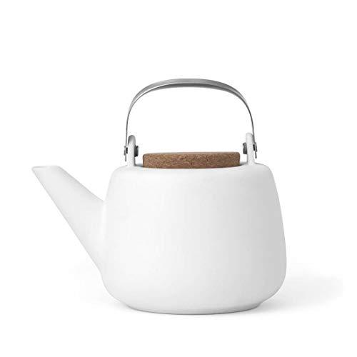 Teekanne Porzellan Abnehmbare Sieb Weiß : tropffrei, mit edlen Griff, für Lose Tee, 1.3L