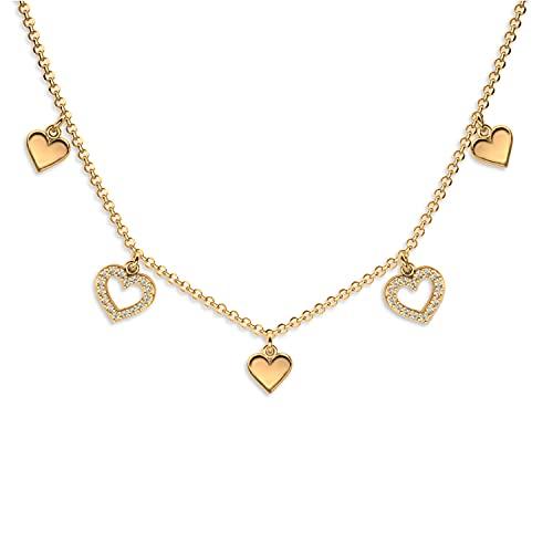 Lilly Marie damas Plata oro recubierto amuleto de la suerte con colgante de cinco corazones bañado en oro Longitud-ajustable Embalaje ecológico Pequeños regalos para mujeres