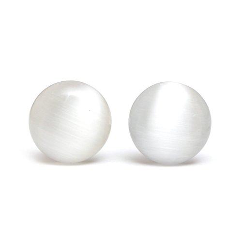 - Idin blanco humo efecto de ojos de gato redondo cristal con carcasa rígida Juego de pendientes de botón (18 x 18 mm)