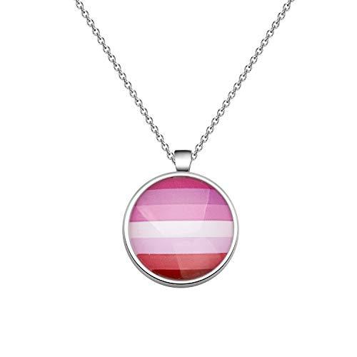 CHOORO Gay Pride Gift LGBT Keychain Rainbow Pride Keychain LGBT Jewelry Bisexual Pride Gift Transgender Pride Gift (LGBT Necklace-Lipstick Lesbian)