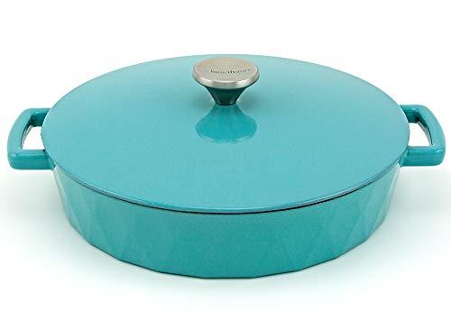 HearthStone Cookware Diamond Cocotte basse en fonte émaillée Turquoise 28 cm 3,8 l Pour toutes les surfaces y compris l'induction et le four