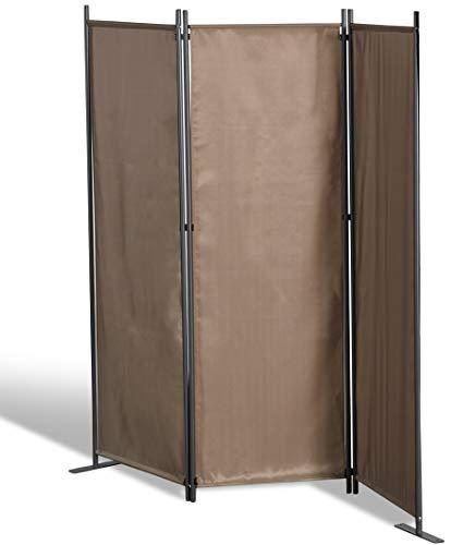 GRASEKAMP Qualität seit 1972 Stellwand 165x170 cm dreiteilig - Taupe - Paravent Raumteiler Trennwand Sichtschutz