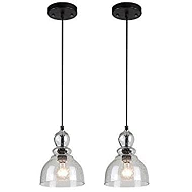 One-Light Adjustable Mini Pendant with Handblown Clear Seeded Glass, Oil Rubbed Bronze Finish - 2-Pack