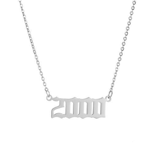 AFSTALR Damen Halskette mit Geburtsjahr Personalisierte Tochter Schwester Freunde Geburtstagsgeschenk 2000 Silber