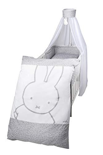 """roba Kinder-Bettgarnitur 4-tlg, Babybettausstattung """"miffy"""", Kinderbettset, Bettwäsche 100x135 cm (Decke & Kissen), Nestchen, Himmel"""