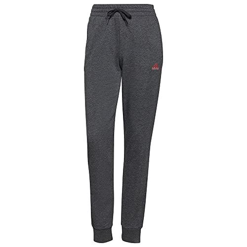 adidas Damen Essentials French Terry Logo Hose, Dark Grey Heather/Rose Tone, XL