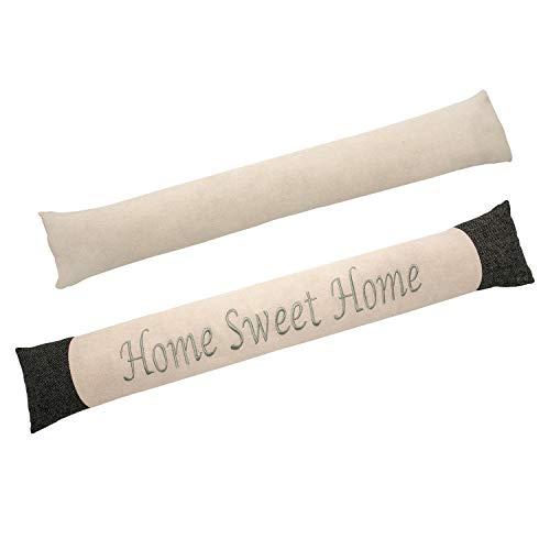 Valia Home Zugluftstopper Durchzugstopper Windstopper für Türen und Fenster mit Sand beschwert beige-grau Home Sweet Home 90 cm lang