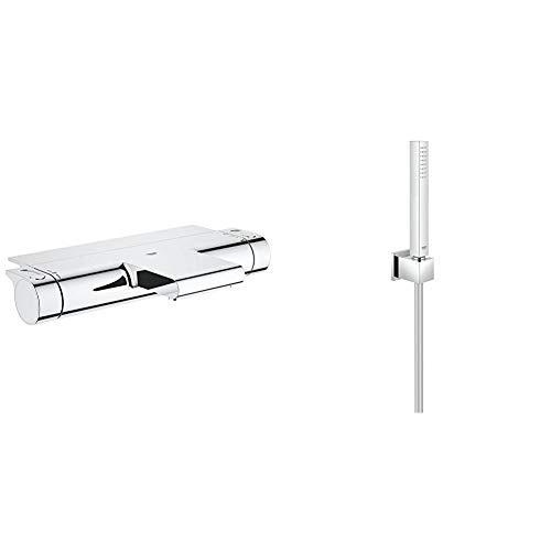 GROHE Grohtherm 2000 | Thermostat-Wannenbatterie, mit Absperrung und Mengenregulierung & Euphoria Cube | Brausen- und Duschsysteme - Handbrause | mit Wandhalter, 1 Strahlart