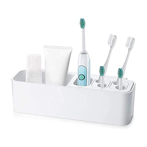 ELXSZJ XTZJ Adhesive Electric Toothbrush Holder Wall Mounted Razor Hanger Bathroom Organizer Box ABS (White)
