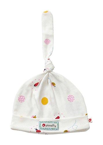 Piccalilly Bonnet en coton bio Motif coccinelle Rouge et jaune - Blanc - 3-6 mois