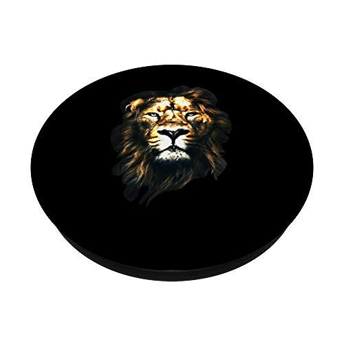 Der majestätische Löwe mit Mähne für Damen und Herren PopSockets PopGrip: Ausziehbarer Sockel und Griff für Handys/Tablets mit Tauschbarem Top
