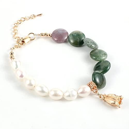 ZhenS Braccialetto di perline di Pietra Naturale di Perle barocche di Moda per le Donne Stile Boho Cristallo irregolare Labradorite Catene di perline gioielli Alla Moda-India onice