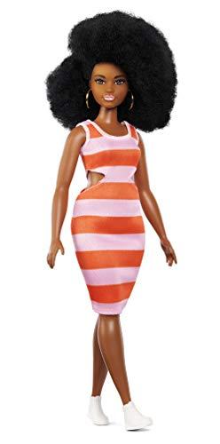 Barbie Fashionistas, Bambola Glamour con Vestito a Righe Grandi Rosa e Arancio, Giocattolo per Bambini 3 + Anni, FXL45