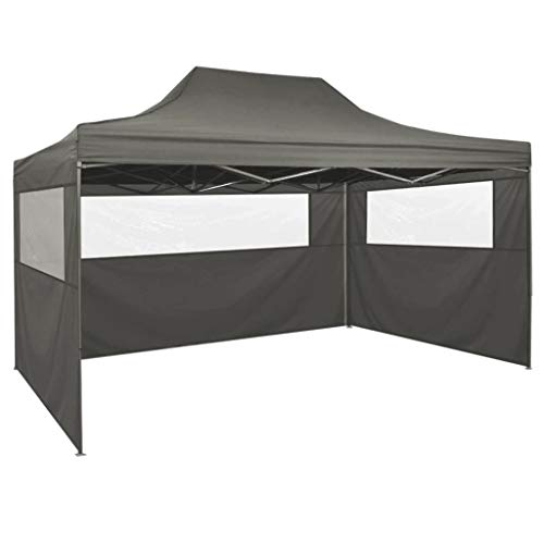 mewmewcat Party Tent Foldable Pop-Up with 4 Side Walls Large Sunshade UV and Water Resistant 3x4.5 m Anthracite