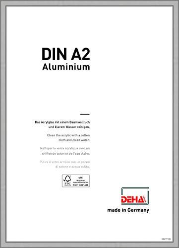 DEHA Aluminium Bilderrahmen Boston, 42x59,4 cm (A2), Silber Matt