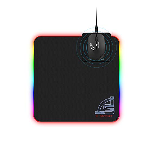 SIGNO Mouse Pad and Wireless Mouse Combo Office Mouse 2.4GHz Wireless and Support Wireless Charging, 10W Wireless Charger Mouse Pad RGB Gaming Mat 11.8x11.8 inch
