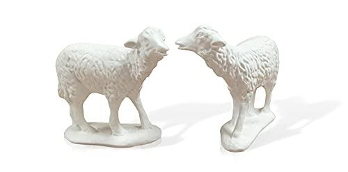 2 corderos Conjunto. Animales para el Nacimiento Portal de Belén. Navidad. Todo Tipo de Animales por Parejas o Individuales. Material de Esacayola (Oveja M2)