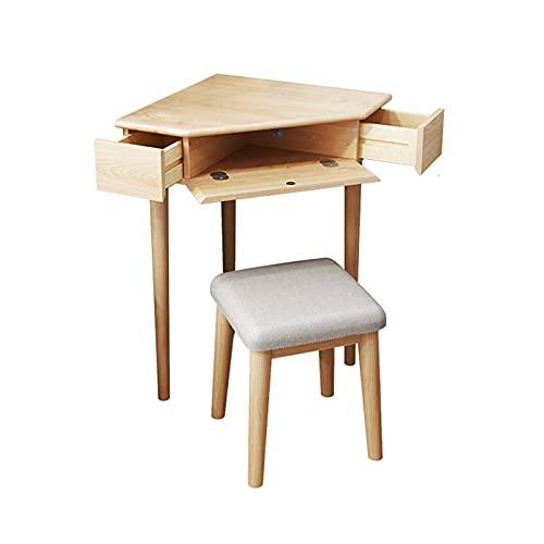 Mesa de Ordenador Tabla de estudio del escritorio de la mesa de la esquina de la esquina robusta con la mesa del triángulo Top Escritorio de trabajo de roble compacto con 2 cajones pequeños y comparti