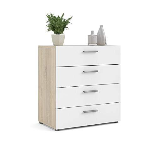 Levan Home Modern 4 Drawer Chest/Bedroom Dresser in Oak Structure White High Gloss