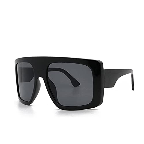 Celebrity - Gafas de sol cuadradas con escudo grande para mujer, gafas de sol de gran tamaño, para hombre, color beige, para mujer, parabrisas, UV400 (lenses color: negro)