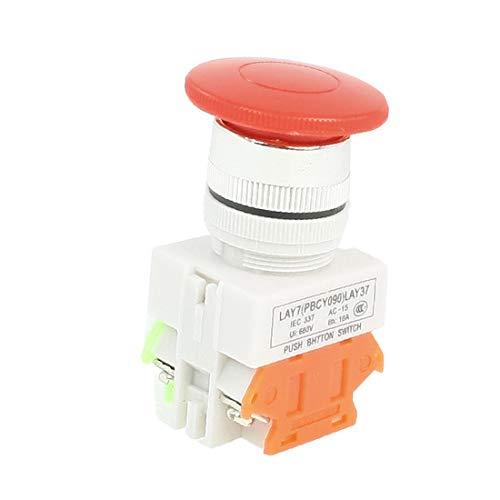 X-DREE AC 660V 10A DPST Interruptor de botón pulsador momentáneo de tapa de seta roja(AC 660V 10A DPST Red Mushroom Cap Momentary Push Button Switch