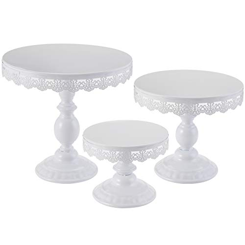 TOPZEA Set of 3 Cake Stands 8quot amp 10quot amp 12quot Round Cupcake Display Metal Dessert Cake Holders for Weddings Birthday Party Baby Shower Anniversary White
