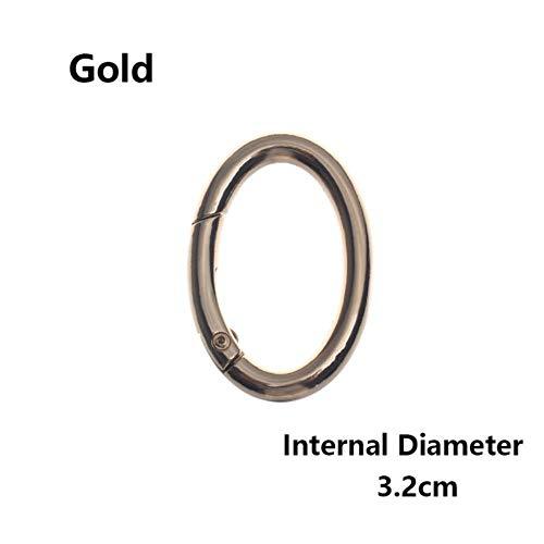 Xinger 2-delige ovale ringgespen Clips Zinklegering Geplateerde poort Lente karabijnhaak Portemonnees Handtassen Ovale push-trigger Snaphaken Karabijnhaak, 3,2 cm- goud