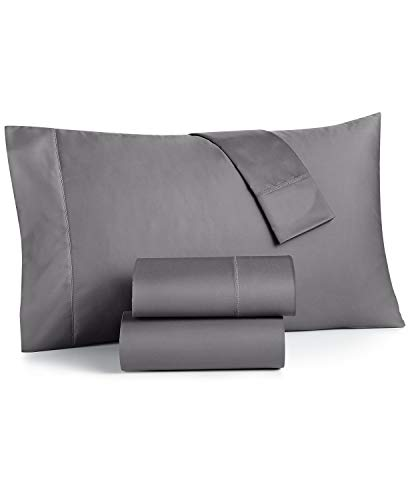 Charter Club Damask Solid 550 Thread Count 100% Cotton 4 Piece Queen Sheet Set Stone