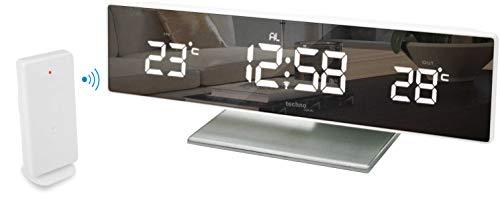 Technoline WS 6815 kleine Wetterstation mit LED-Anzeige und Spiegel-Display, inklusive mit Außensender TX96, Funkuhr, sowie Innen und Außentemperaturanzeige, 25,8 x 4,2 x 8 cm