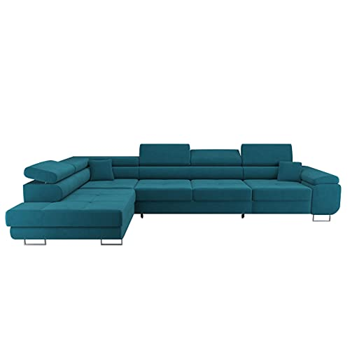 Ecksofa Wild Maxi - Ecksofa mit Schlaffunktion und Bettkasten - Sofa mit Bed Funktion - Eckcouch L-Form, Grosse Sofa (Grün, Ecksofa Links)