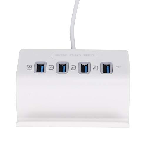 Concentrador USB2.0, Adaptador de concentrador OTG de múltiples interfaces USB 4 en 1, Velocidad de transmisión de datos rápida de 480 Mbps, para tableta, computadora portátil, computadora de escritor