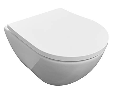 ADOB, verkürzte kurze spülrandlose wandhängende WC Keramik Toilette, platzsparend, mit passendem WC Sitz mit Absenkautomatik, 28022