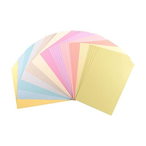 Vaessen Creative 2927-305 Florence Cardstock Papier, Farbenmix Pastell, 216 Gramm/m², DIN A4, 60 Stück, Textur, für Scrapbooking, Kartenherstellung, Stanzen und andere Papierbasteleien, Multi