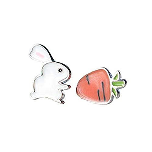 Pendientes de conejo de conejo, lindos animales tachuelas, pendientes de zanahoria, pendientes sin cordones