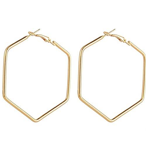 Ruluti Pendientes de aro de Hexagon de la Moda de Punk para Las Mujeres Lady Lady Geometric Geometric Hollow Declaración Loco Pendiente Regalos