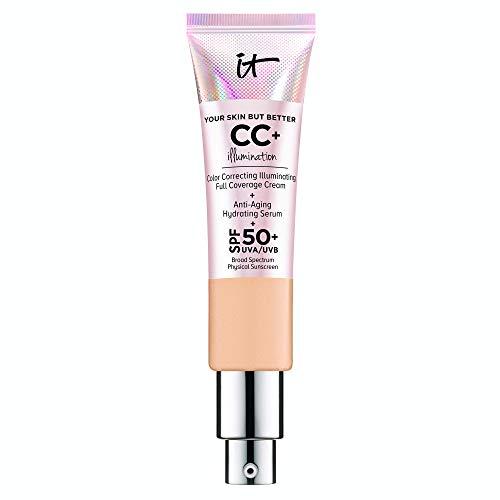 IT Cosmetics Your Skin But Better CC+ Cream Illumination, Neutral Medium (N) - Color Correcting Cream, Full-Coverage Foundation, Anti-Aging Serum & SPF 50+ Sunscreen - Radiant Finish - 1.08 fl oz