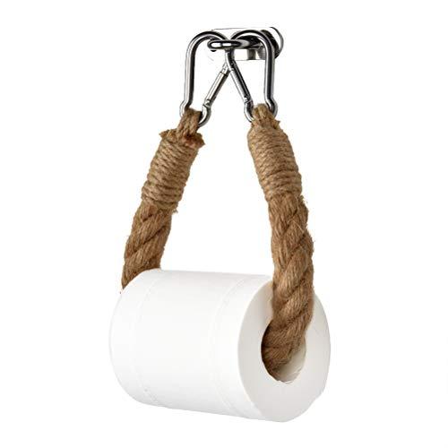 Toilettenpapierhalter Holz, Vintage Hanfseil Handtuch Hängeseil Toilettenpapier Seidenpapier Toilettenpapierhalter Hochleistungs-Wandhalterung Bad Handtuchring mit Schraubzubehör Edelstahl Hakenregal
