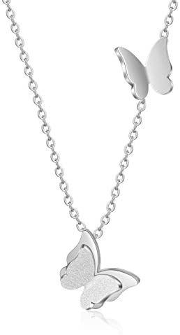 SHERLOVE Sterling Silver Butterfly Necklace Simple Dainty Pendant Necklace Trendy Jewelry for product image