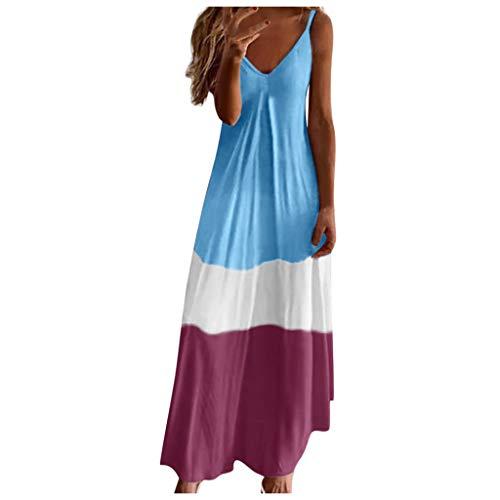 Lang Bandeau Kleid Frühchenkleidung Arabische Kleidung Damen Kleiderschrank Schwarz Kleider Damen Sommer Knielang Kleid Damen Lang Schicke Kleider Damen Ballkleider Umstandskleid(Blau,XL)