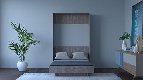 Wallter Systems Modern Wall Mounted Single Bed 4 x 6 Size Plywood DIY Folding Cabinet Easy to Assemble Vertical with Bed Fittings Kit LW Color