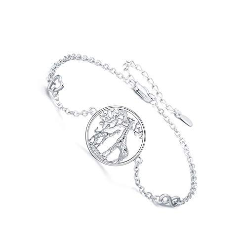 Pulsera de jirafa para mujer, plata de ley 925, símbolo de corazón infinito