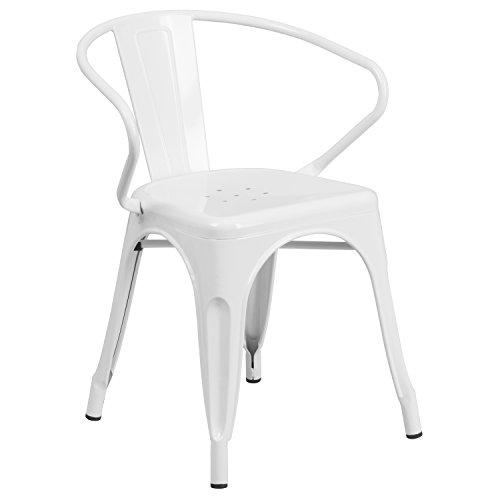 Flash Furniture White Metal Indoor-Outdoor Chair with Arms