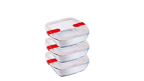 Pyrex - Cook and Heat Cook & Heat - Lot de Trois Boîtes Alimentaires Carrées en Verre 1L avec Couvercle hermétique spécial Micro-Ondes - Boîtes de Conservation